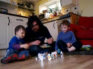 time with kids playing board games