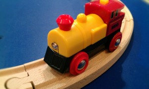 Brio Two-Way Battery Powered Engine red and yellow wooden railway